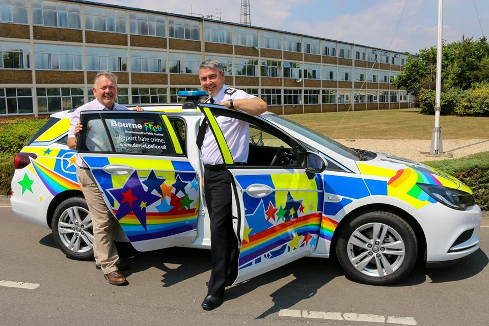 PCC Martyn Underhill and Chief Constable James Vaughan with the Pride car ready for Bourne Free
